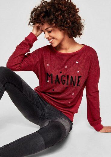 s.Oliver RED LABEL Trend-Sweater mit Glitzer-Wording