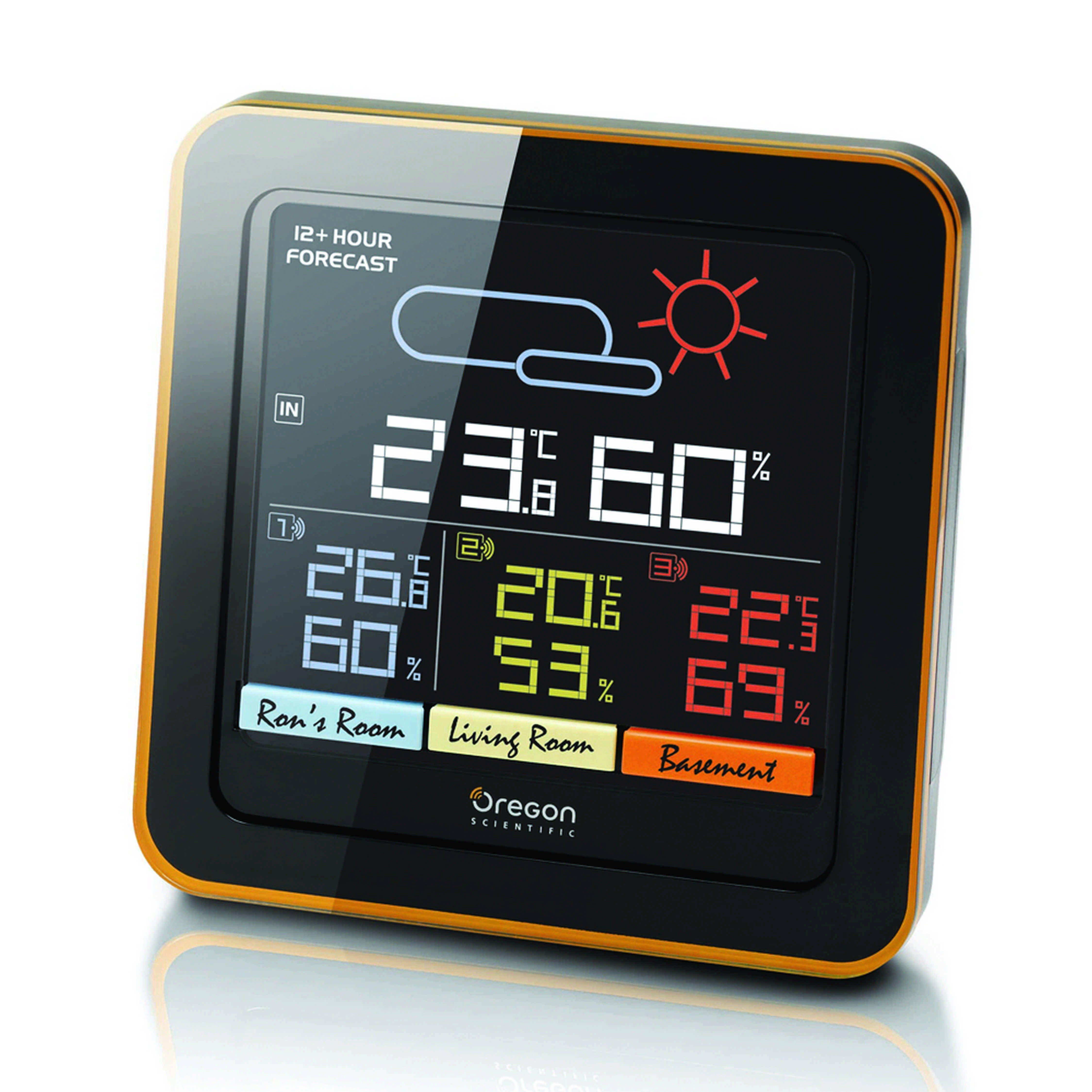 OREGON Farb-LCD Multizonen Funk-Wetterstation mit 3 Sensoren »RAR 502S«