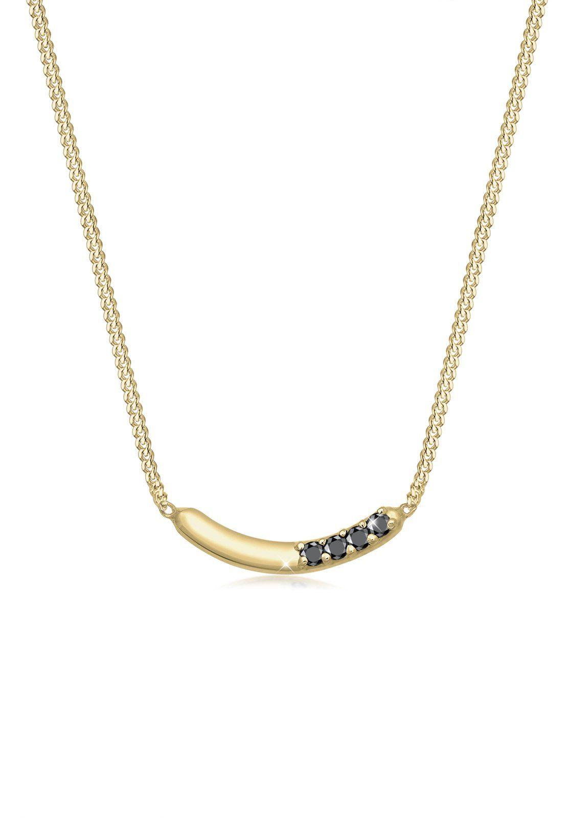 Diamore Halskette »Bogen Geo Schwarzer Diamant (0.06ct.) 375 Gelbgold«