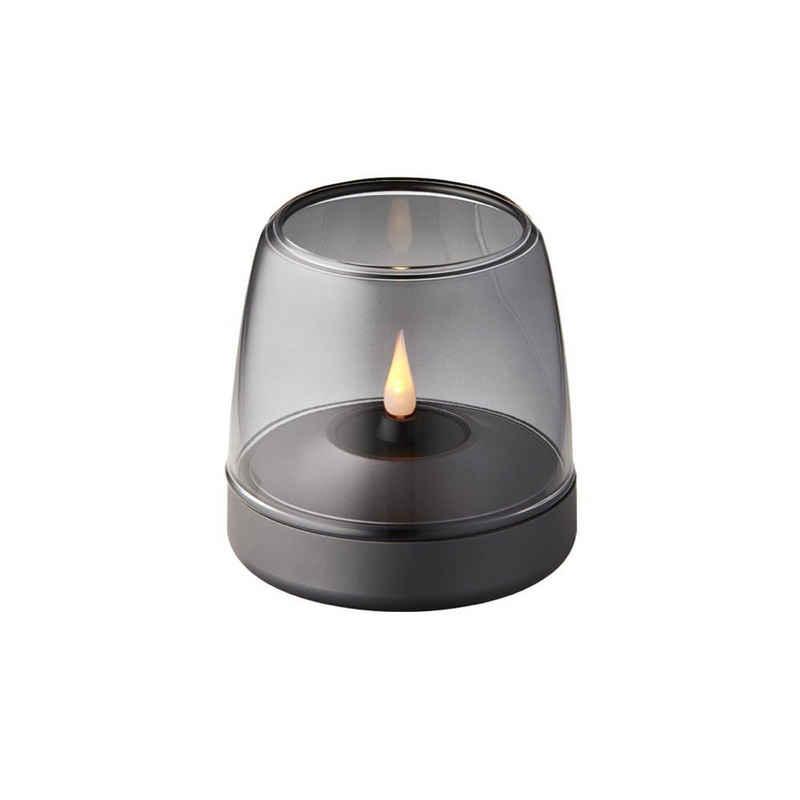 kooduu LED Tischleuchte »Tischleuchte Glow 10 in Grau mit LED Kerze«, Tischleuchte, Nachttischlampe, Tischlampe