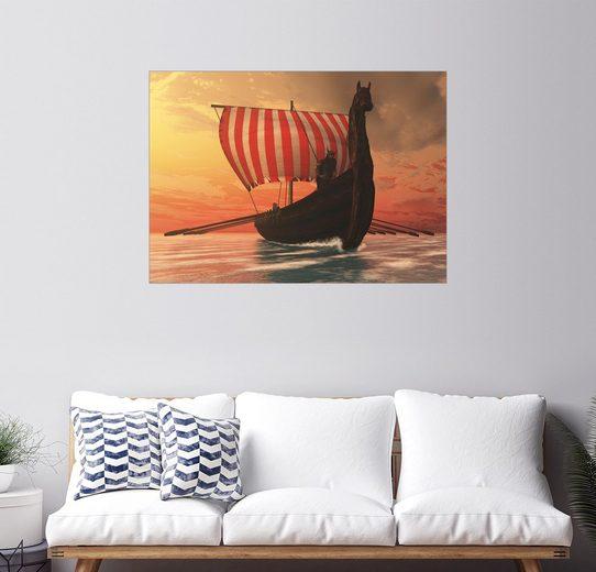 Posterlounge Wandbild - Corey Ford »Ein Wikingerschiff segelt zu neuen Ufern«