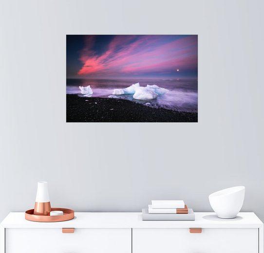 Posterlounge Wandbild - Dennis Fischer »Eisberge am Strand auf Island«