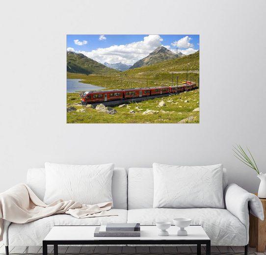 Posterlounge Wandbild - Olaf Protze »Eisenbahn am Bernina Pass, Schweiz«