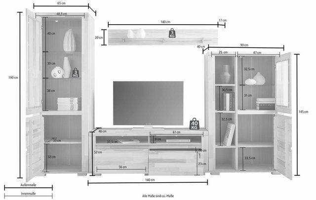 Wohnwände - Woltra Wohnwand »Denis«, (Set, 4 St), teilmassives Holz  - Onlineshop OTTO