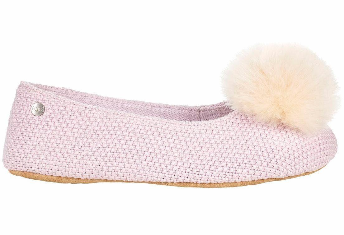 UGG »Andi« Hausschuh, mit toller Lammfellbommel, rosa, US-Größen, rosa