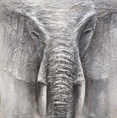 Spiegelprofi GmbH Ölgemälde »Elephant«, 100/100 cm, handgemalt