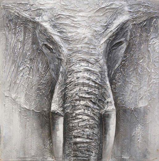 Ölgemälde »Elephant«, Elefant, 100/100 cm, handgemalt