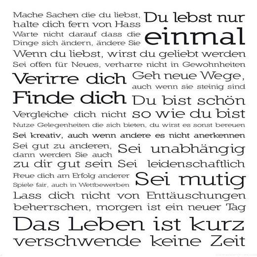 Home affaire Deco-Panel »Du lebst nur ein«, 50/50cm