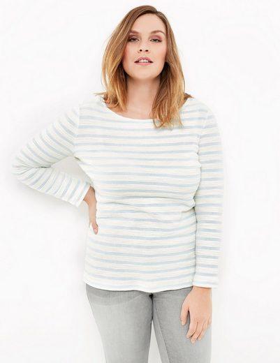 Samoon T-Shirt Langarm Rundhals Longsleeve aus geringeltem Struktur-Jersey