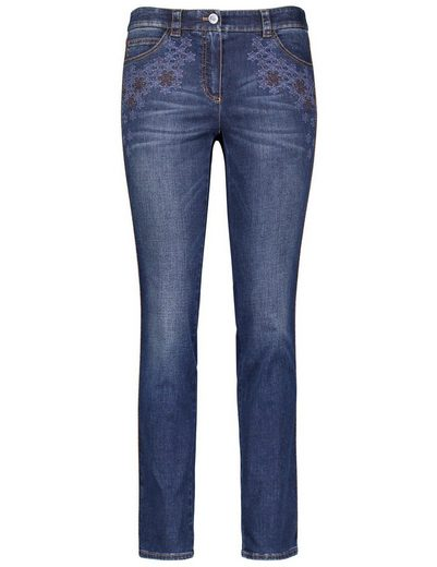 Gerry Pantalon Tisserand Jeans Jeans Long Avec Broderie
