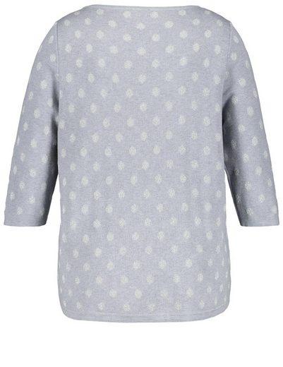 Samoon Pullover 3/4 Arm Rundhals Pullover mit Lurex-Dots