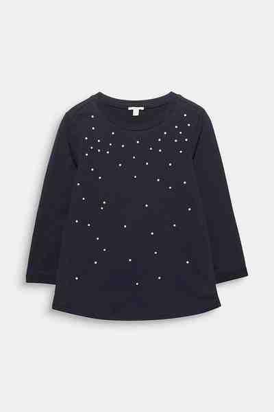 ESPRIT CASUAL Softes Shirt mit Perlen, 100% Baumwolle