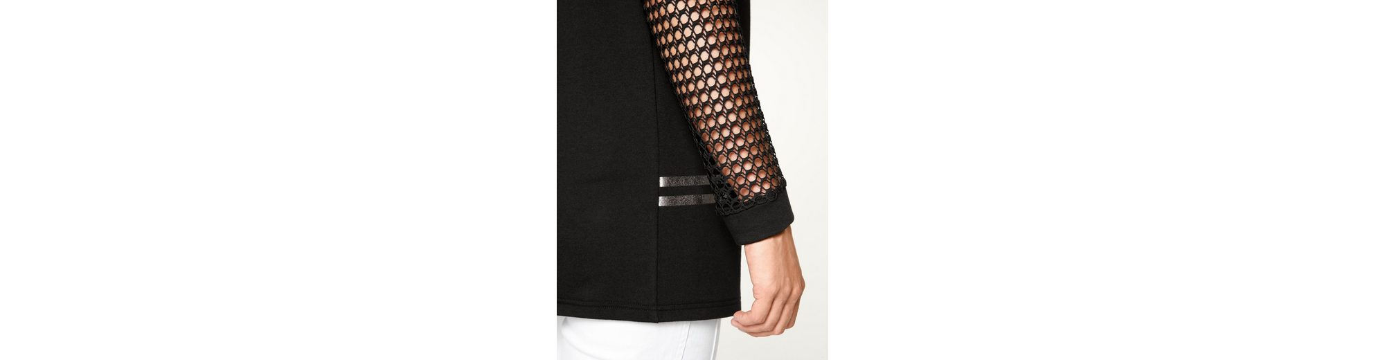 Die Offizielle Website Zum Verkauf Countdown Paketverkauf Online MIAMODA Sweatshirt mit transparentem Netz-Stoff Original Günstig Online Manchester Großer Verkauf Zum Verkauf Xr84F7