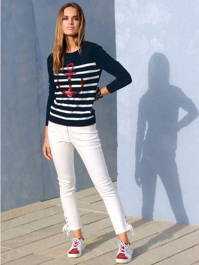 Alba Moda Jeans mit Ösen und Band am Saum