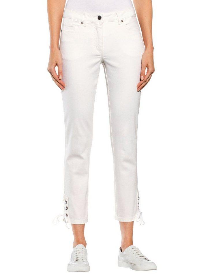 Damen Alba Moda Jeans mit Ösen und Band am Saum weiß | 04055716249577