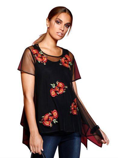Alba Moda Bluse mit Top aus transparenter Netzware