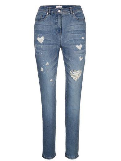 MIAMODA Jeans mit aufgedruckten Herzmotiven und Dekoperlen