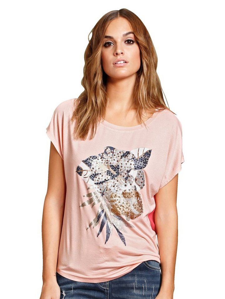 Damen Alba Moda  T-Shirt mit Blumendruck im Vorderteil rot | 04055716187848