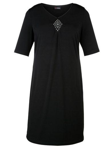 MIAMODA Slinky-Kleid mit Dekoplättchen am Ausschnitt