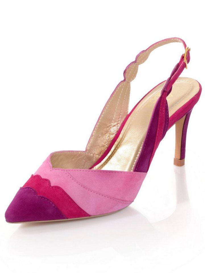 Damen Alba Moda Slingpumps im farbigem Dreiklang rosa   04055716281782