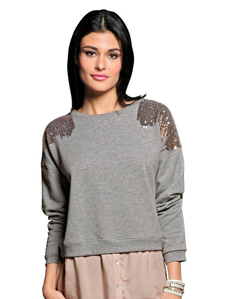 Damen Alba Moda  Sweatshirt in 2in1-Optik grau | 04055715526365