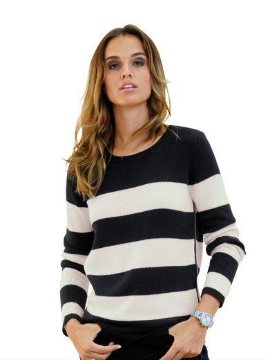 Alba Moda Pullover mit Strickband am Saum