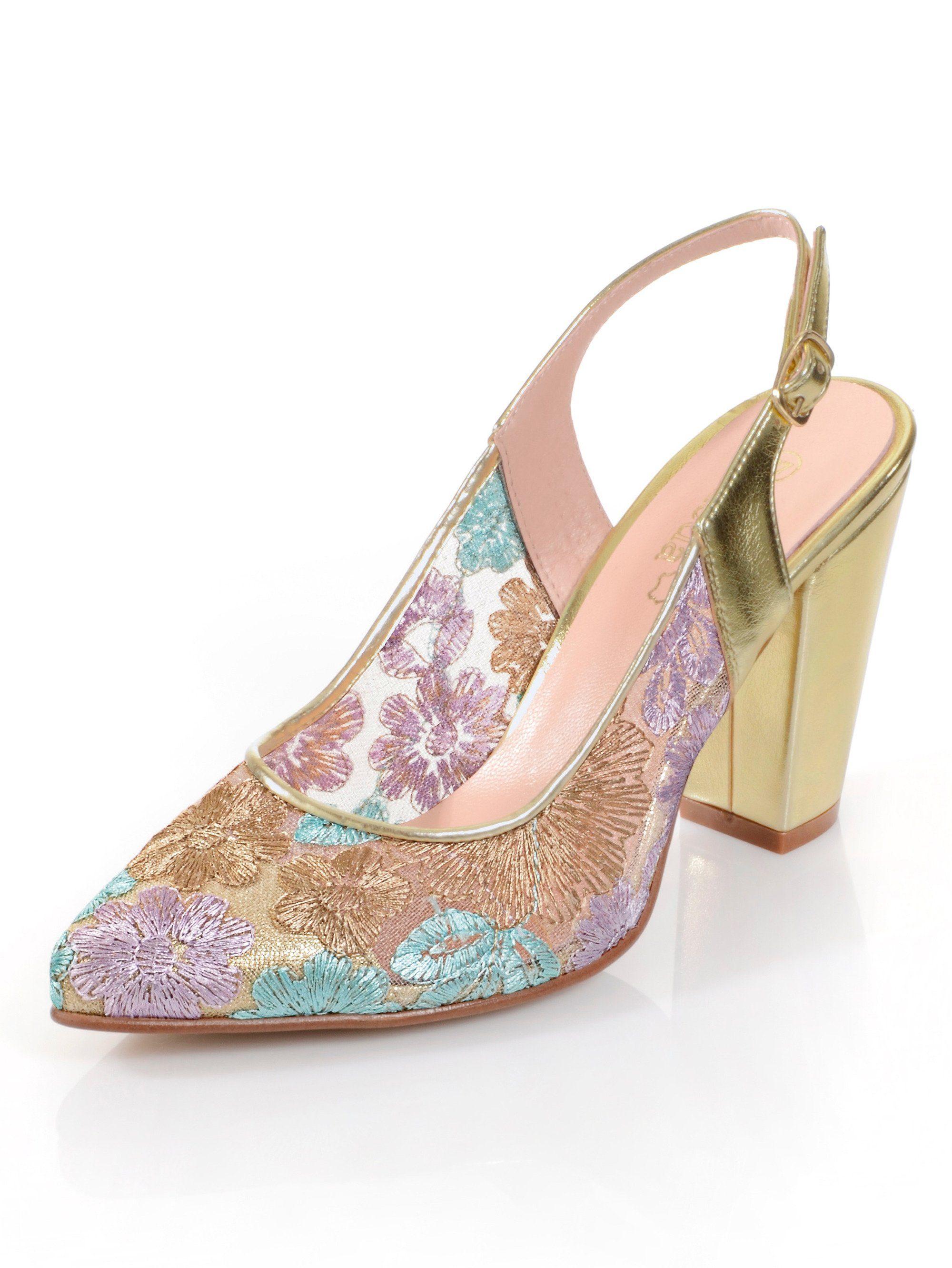 Alba Moda Slingpumps mit Blumenmuster kaufen  gold-multi
