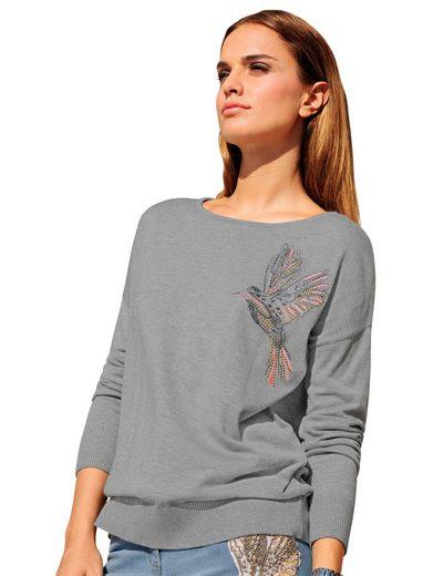 Alba Moda Pullover mit Kolibrimotiv im Vorderteil