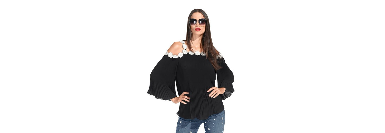 Amy Vermont Pliss茅ebluse schulterfrei durch cut out