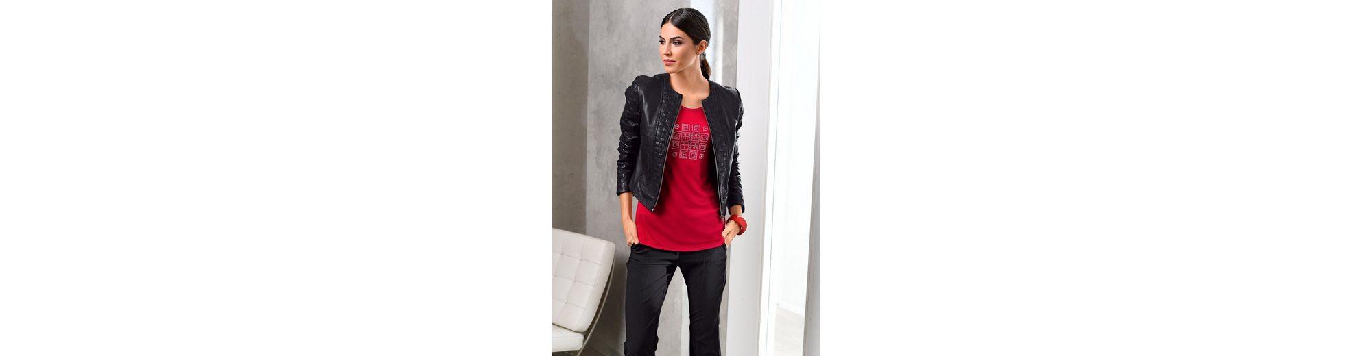 Verkauf Neuesten Kollektionen Alba Moda Lederjacke mit aufwendigen Ziersteppungen Rabatt Großhandel nEvXVtlNq