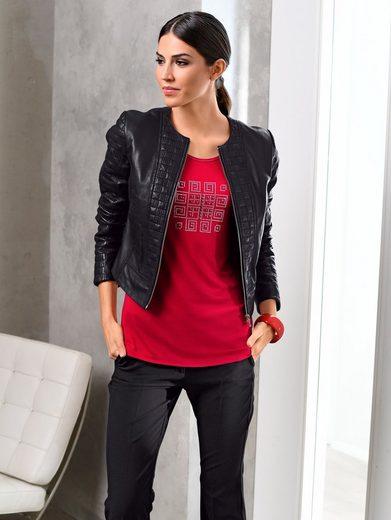 Alba Moda Lederjacke mit aufwendigen Ziersteppungen