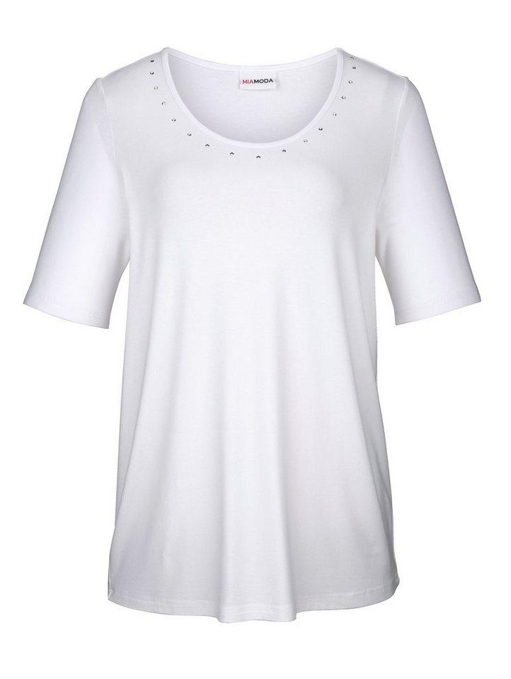 66037f97aad775 MIAMODA Shirt mit Dekosteinen am Ausschnitt, Toll kombinierbares ...