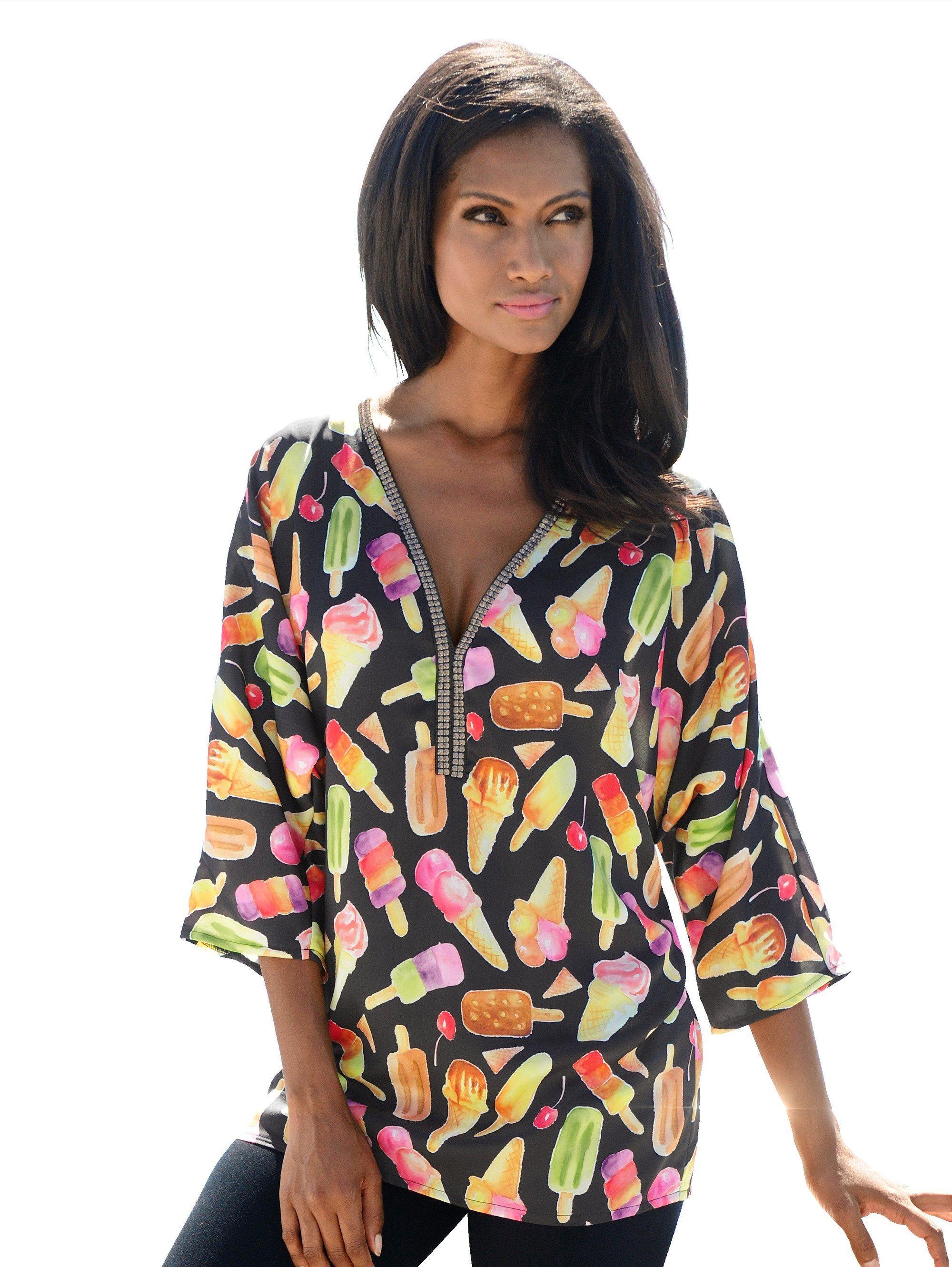 Alba Moda Tunika mit sommerlichem Druck | Bekleidung > Tuniken > Sonstige Tuniken | Polyester | Alba Moda