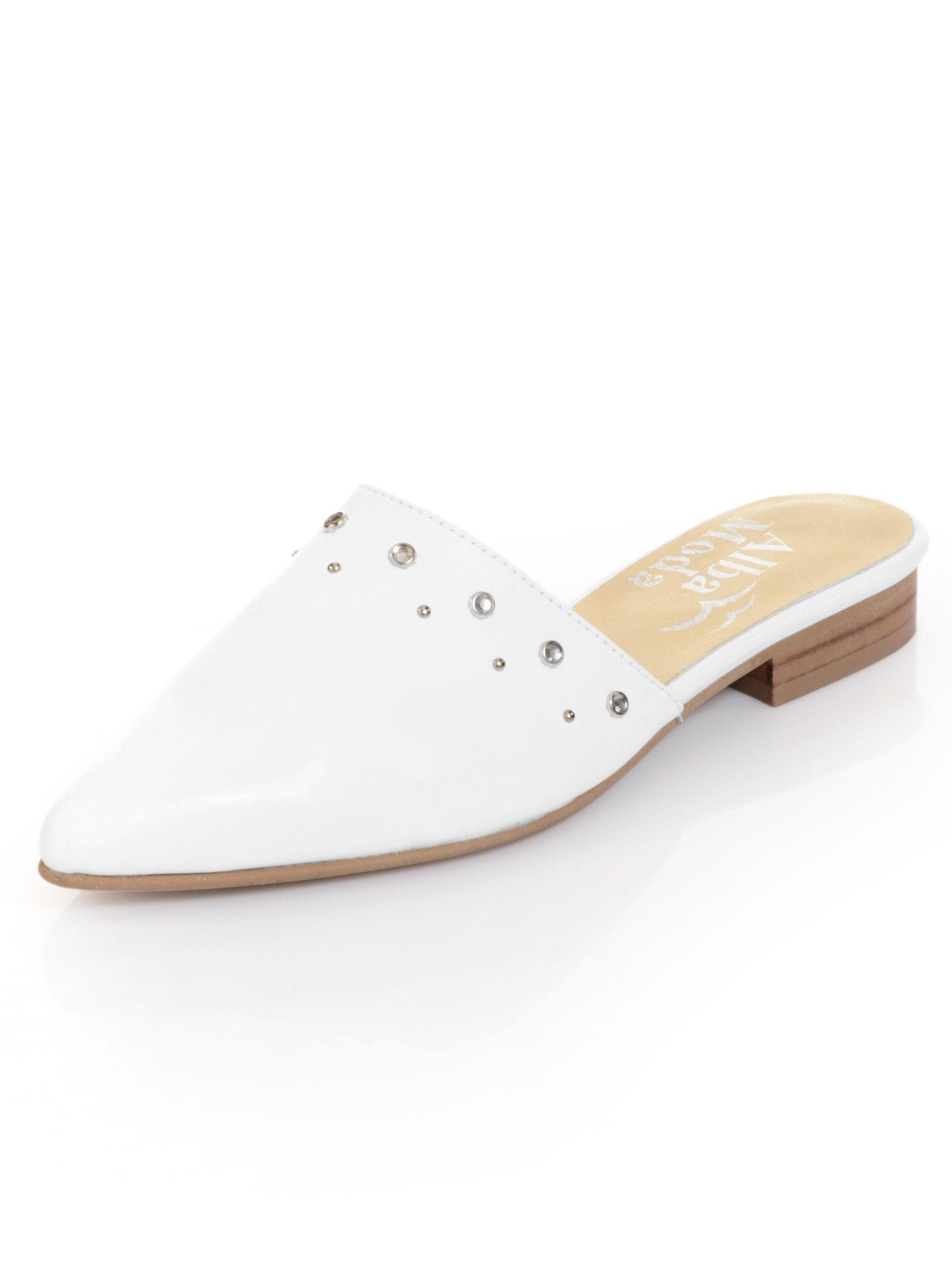 Alba Moda Sabot mit silberfarbenen Nieten besetzt  weiß
