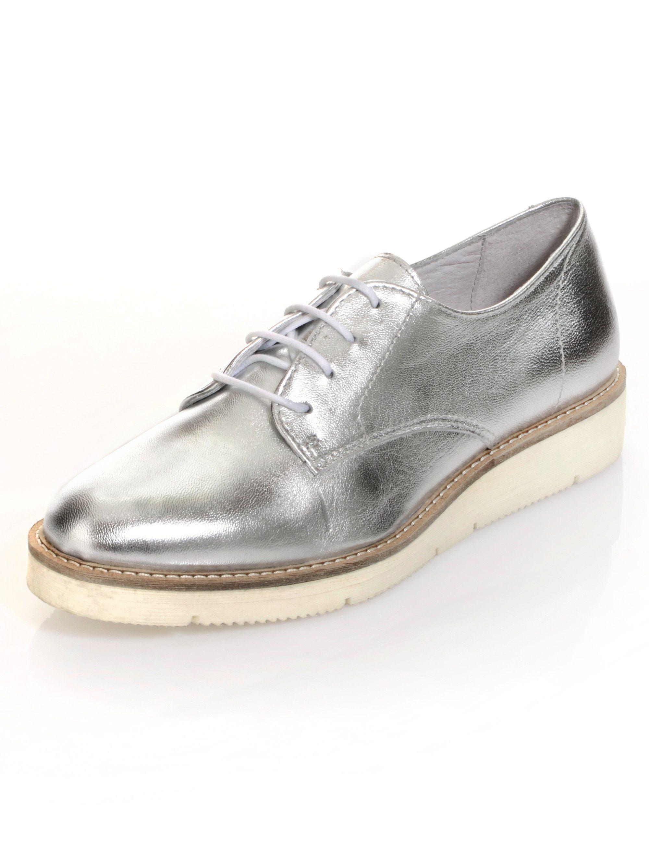 Alba Moda Schnürschuh in Silberfarben-Metallic  silber