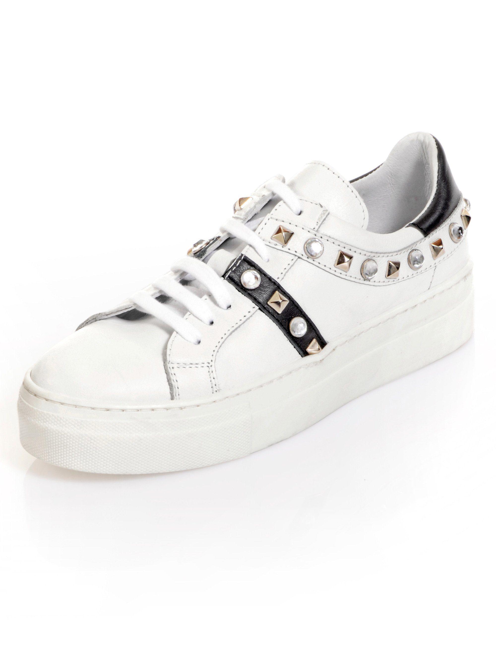 Alba Moda Sneaker mit Nieten und Steinchen besetzt, weiß, weiß/schwarz