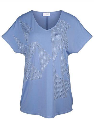 MIAMODA Shirt mit glänzenden Nieten verziert