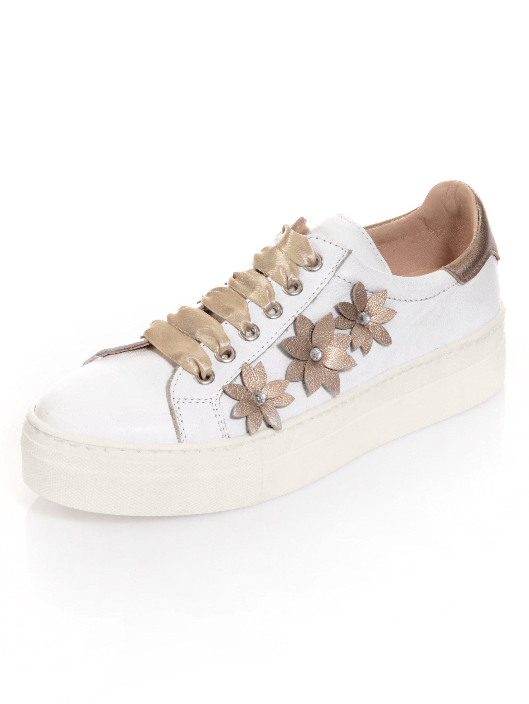 Alba Moda Sneaker mit Blumenapplikationen in leichter Metallic-Optik online kaufen  weiß#ft5_slash#platin