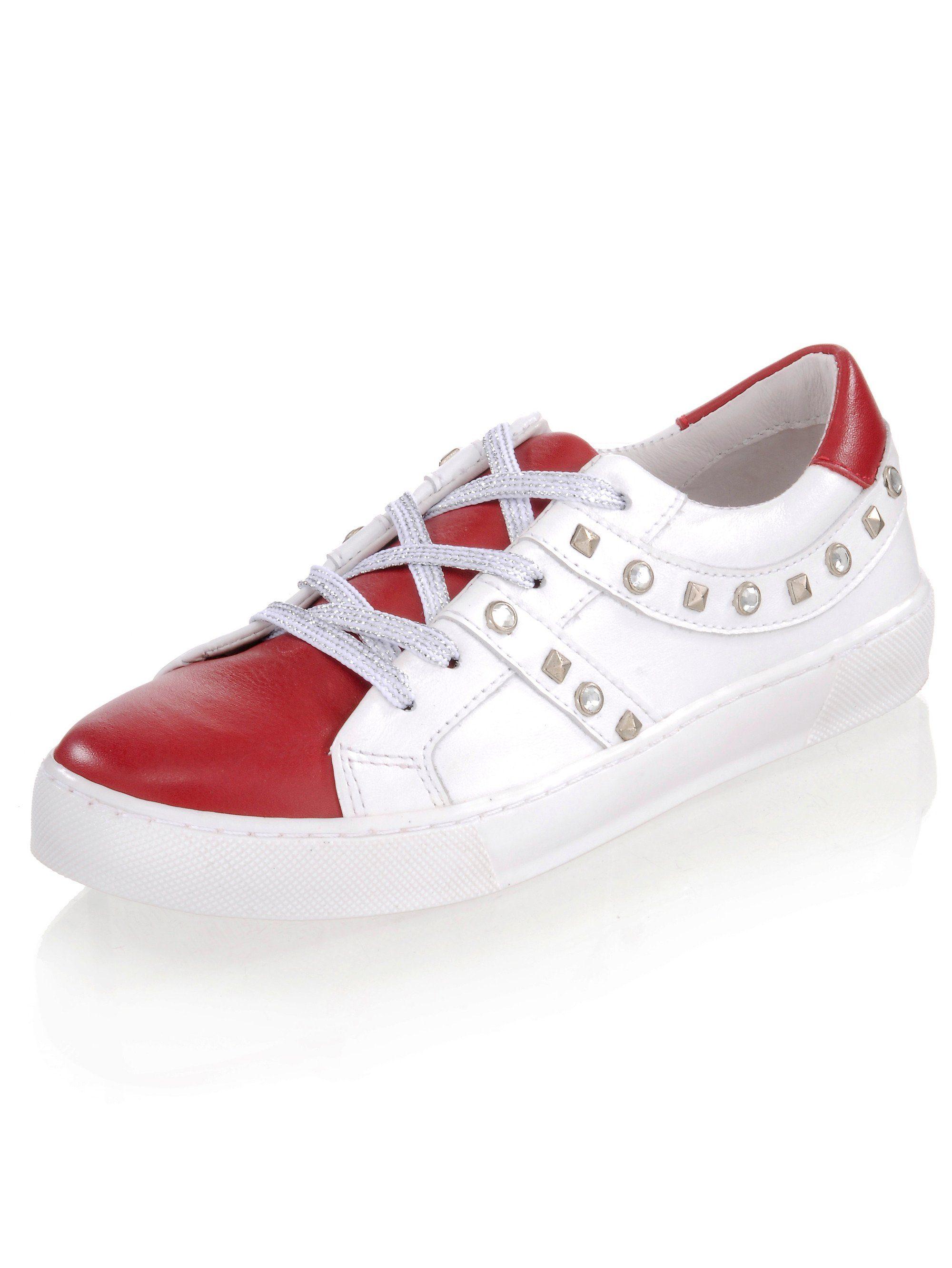 Alba Moda Sneaker mit silberfarbenen Nieten kaufen  rot#ft5_slash#weiß