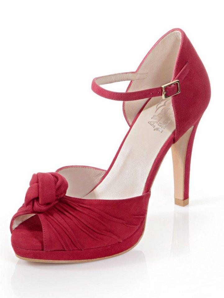 Damen Alba Moda Slingpumps mit interessanter Knotenlösung rot   04055716282550