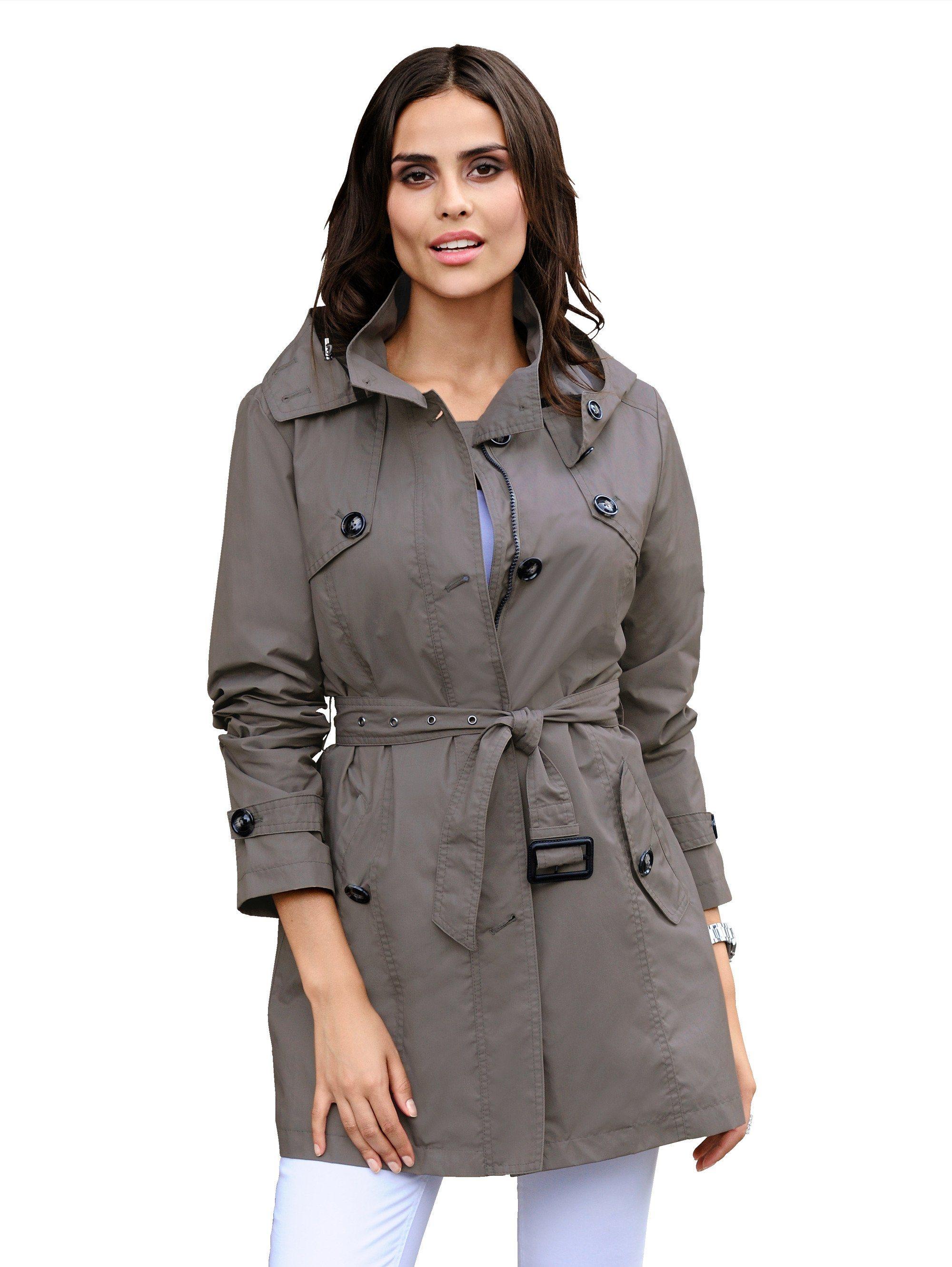 Alba Moda Trenchcoat mit abknöpfbarer Kapuze | Bekleidung > Mäntel > Trenchcoats | Baumwolle - Polyamid - Polyester | Alba Moda
