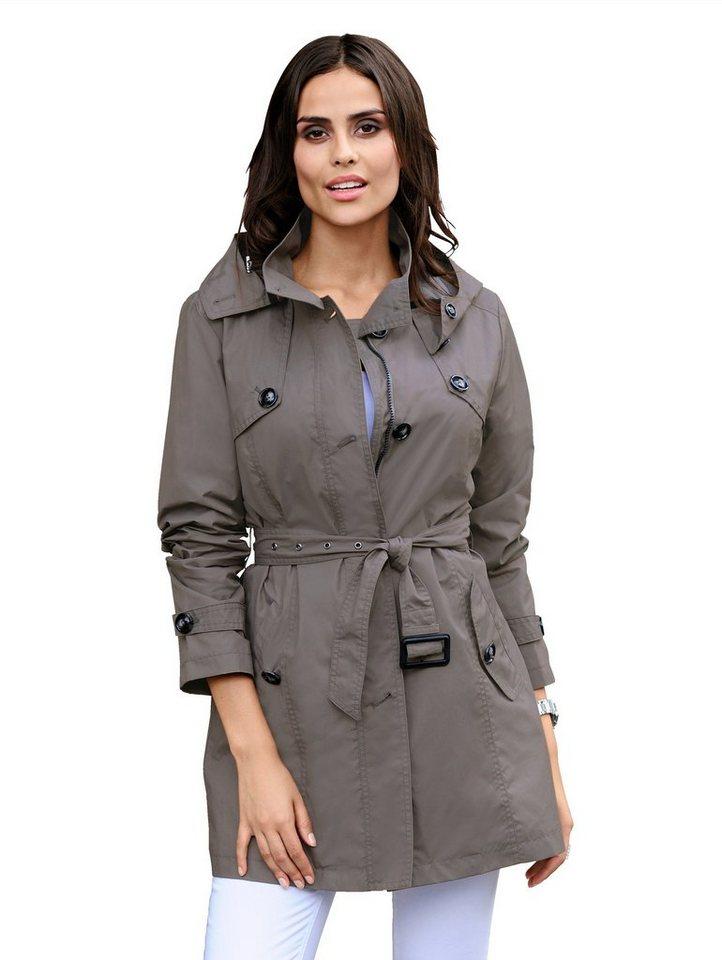 Alba Moda Trenchcoat mit abknöpfbarer Kapuze | Bekleidung > Mäntel > Trenchcoats | Blau | Baumwolle - Polyamid - Polyester | Alba Moda