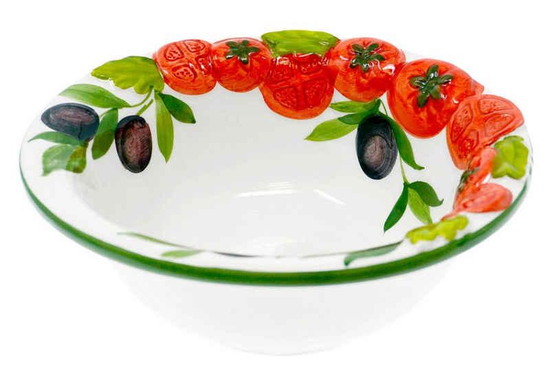 Lashuma Dessertschale »Tomate Olive«, Keramik, Servierschüssel mit Relief Dekor, italienische Salatschale rund