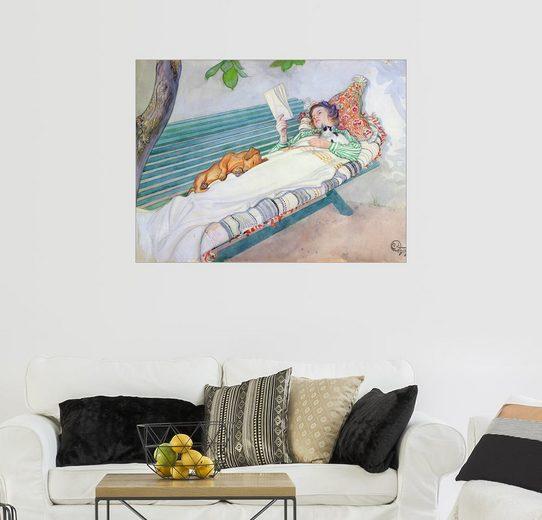 Posterlounge Wandbild - Carl Larsson »Auf einer Bank liegende Frau«