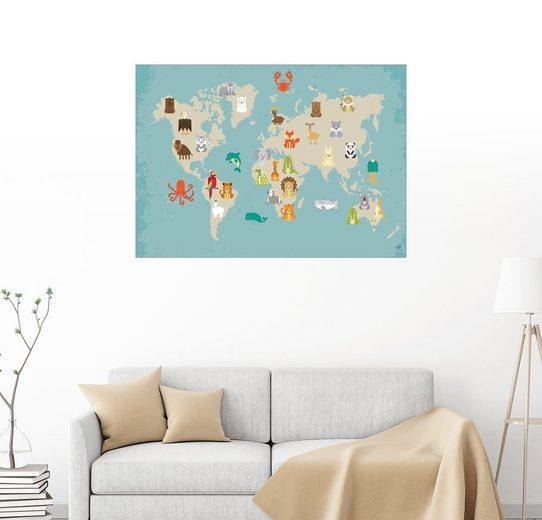 Posterlounge Wandbild - Petit Griffin »Weltkarte mit Tieren für das Kinderzimmer«