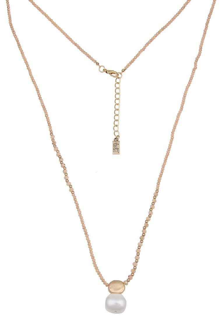 Leslii Perlenkette aus goldfarbenen Kugeln mit weißem Perlen-Anhänger