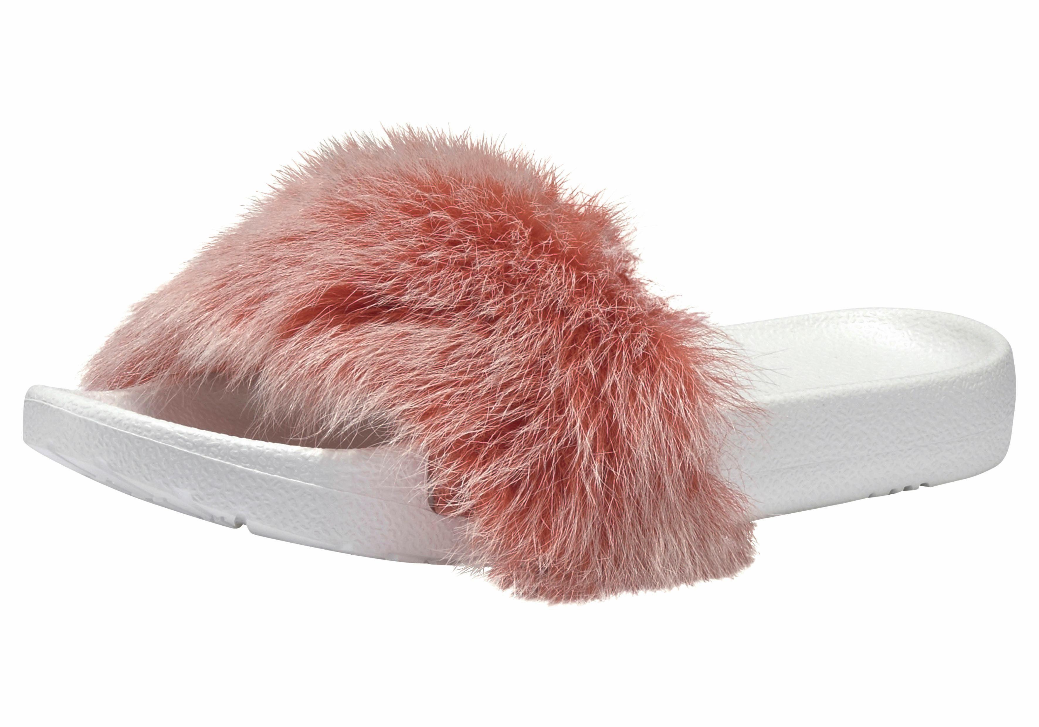 UGG »Royale Tipped« Pantolette, mit tollem Fellbesatz, rosa, US-Größen, beere