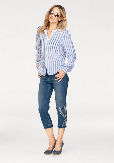 TONI 7/8-Jeans, Perfect Shape mit Stickerei und offenem Saum