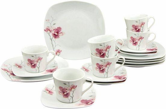 CreaTable Kaffeeservice »Aiko« (18-tlg), Porzellan, Spülmaschinengeeignet
