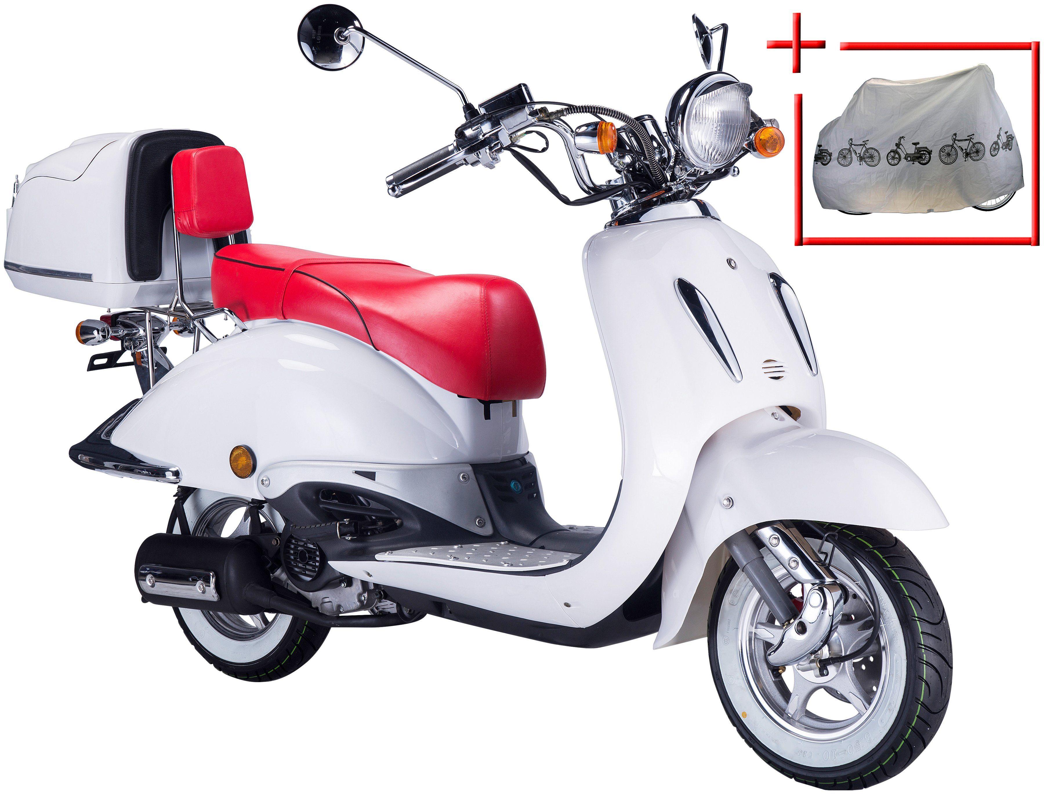 GT UNION Motorroller »Strada«, 50 ccm, weiß-rot